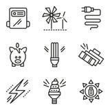 Enkel linje symboler för sparande energibegrepp Arkivfoto