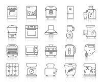 Enkel linje symbolsvektoruppsättning för kökanordning stock illustrationer