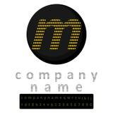 enkel logo En bokstav M i den LEDDE stilgulingen i bakgrunden av svart En bonus i form av ett fullt alfabet och en uppsättning av arkivfoto