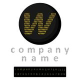 enkel logo En bokstav w i den LEDDE stilgulingen i bakgrunden av svart En bonus i form av ett fullt alfabet och en uppsättning av Arkivfoton