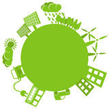 Enkel logo för grönt planet vektor illustrationer