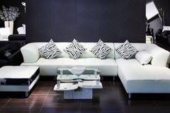 Enkel lokal med den vita sofaen, liten tidskrifttabell Royaltyfria Foton