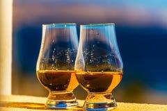 Enkel maltwhisky i exponeringsglaset, lyxigt smaka exponeringsglas fotografering för bildbyråer