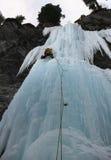 Enkel manlig isklättrare på en brant vattenfall i de schweiziska fjällängarna arkivfoton