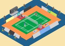 Enkel match för badmintonkonkurrens Royaltyfri Foto