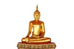 Enkel meditationbuddha staty som isoleras på vit bakgrund Arkivbilder