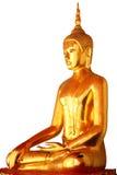 Enkel meditationbuddha staty som isoleras på vit bakgrund Royaltyfri Foto