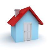 enkel modell för hus 3d över vit Arkivfoto