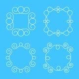 Enkel monogramdesignmall, elegant linje konstlogodesign, Arkivbild