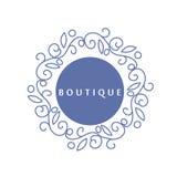 Enkel och behagfull blom- monogramdesignmall, elegant lineartlogo, vektorillustration för boutique salong Arkivfoto