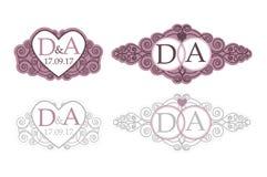 Enkel och elegant monogramdesignmall för två bokstäver också vektor för coreldrawillustration Royaltyfria Bilder