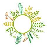 Enkel och gullig blom- oval krans royaltyfri illustrationer