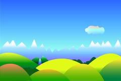 Enkel optimistisk landskapbakgrund med utrymme för text, illustration i blått och gräsplan Royaltyfria Bilder