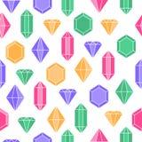 Enkel pastell färgade diamantkristaller på den vita sömlösa modellen, vektor royaltyfri illustrationer