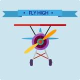 Enkel plan illustration med ett flygplan Arkivbild