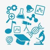 Enkel plan minimalist utbildningssymbol för ungar och studentskola Arkivbild