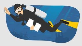Enkel plan stil för dykareillustration stock illustrationer