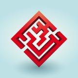 Enkel röd labyrint Royaltyfri Foto
