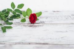 Enkel röd ros på tappningträtabellen Royaltyfri Foto
