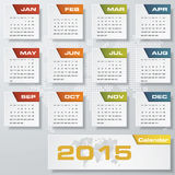 Enkel redigerbar vektorkalender 2015 Arkivfoton