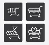 Enkel rengöringsduksymbol i: shoppingkorg Arkivbild