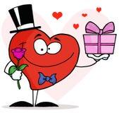 enkel rose för romantiker för gentlemanhjärtaholding Arkivbild