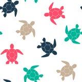 Enkel sömlös bakgrund med en kontur av en sköldpadda på en vit bakgrund också vektor för coreldrawillustration vektor Royaltyfria Bilder