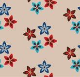 Enkel sömlös blom- modell Beige bakgrund med röda, bruna och blåa blommor vektor illustrationer