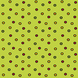 Enkel sömlös modell för färgrika prickar på ett ljus - grön bakgrund Royaltyfri Bild