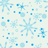 Enkel sömlös modell för snöflinga Blå snö på vit bakgrund Abstrakt tapet som slår in garnering Symbol av vintern som är glat vektor illustrationer