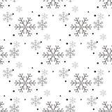Enkel sömlös modell för snöflinga Svart snö på vit bakgrund Abstrakt tapet som slår in garnering Symbol av stock illustrationer
