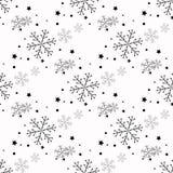 Enkel sömlös modell för snöflinga Svart snö på vit bakgrund Abstrakt tapet som slår in garnering Symbol av vektor illustrationer