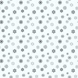 Enkel sömlös modell för snöflinga Svart snö på vit bakgrund Abstrakt tapet som slår in garnering Symbol av vintern, stock illustrationer
