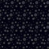 Enkel sömlös modell för snöflinga Svart snö på vit bakgrund Abstrakt tapet som slår in garnering Symbol av vintern, royaltyfri illustrationer
