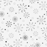 Enkel sömlös modell för snöflinga Svart snö på vit bakgrund Abstrakt tapet som slår in garnering Symbolvinter, glat C stock illustrationer