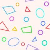 Enkel sömlös modell med cirklar, trianglar och polygoner Arkivbild