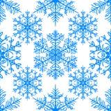 Enkel sömlös modell med snöflingor på vit bakgrund vektor illustrationer