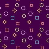 Enkel, sömlös/repetitionmemphis modell/textur Lila-, rosa färg-, guling- och blåttbeståndsdelar royaltyfri illustrationer