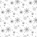 Enkel s?ml?s modell f?r sn?flinga Svart sn? p? vit bakgrund Abstrakt tapet som sl?r in garnering Symbol av vintern, vektor illustrationer