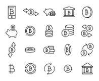 Enkel samling av den cryptocurrency släkta linjen symboler vektor illustrationer