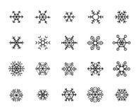 Enkel samling av den snöflinga släkta linjen symboler vektor illustrationer