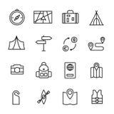Enkel samling av den turism släkta linjen symboler royaltyfri illustrationer