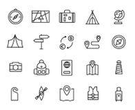 Enkel samling av den turism släkta linjen symboler stock illustrationer
