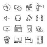 Enkel samling av den underhållning släkta linjen symboler royaltyfri illustrationer