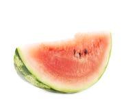 Enkel skiva av en isolerad vattenmelonfrukt Royaltyfria Bilder