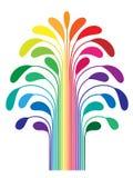 enkel stylized tree för abstrakt färgregnbåge Arkivfoton