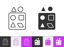 Enkel svart linje leksakvektorsymbol för sorteringspussel stock illustrationer