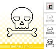 Enkel svart linje symbol för skalle för halloween teckenvektor stock illustrationer