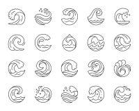 Enkel svart linje symbolsvektoruppsättning för våg royaltyfri illustrationer