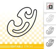 Enkel svart linje vektorsymbol för fransk kurva royaltyfri illustrationer